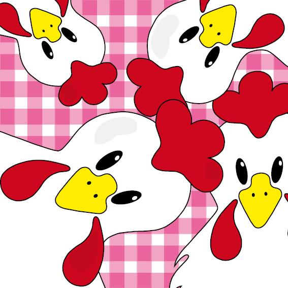 Witte kippen roze ruit