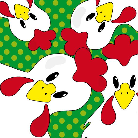 Witte kippen stippen groen