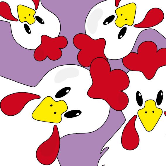 Witte kippen paars