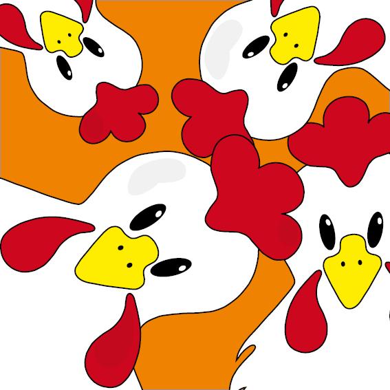 Witte kippen oranje