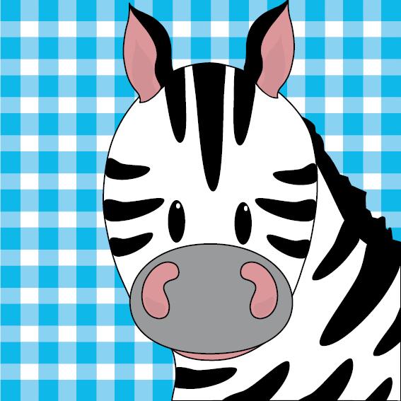 Zebra Mara blauwe ruit