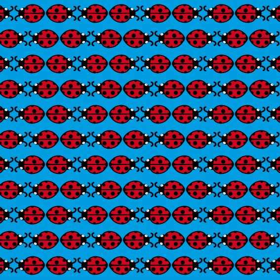 patroon Lieveheersbeestje blauw