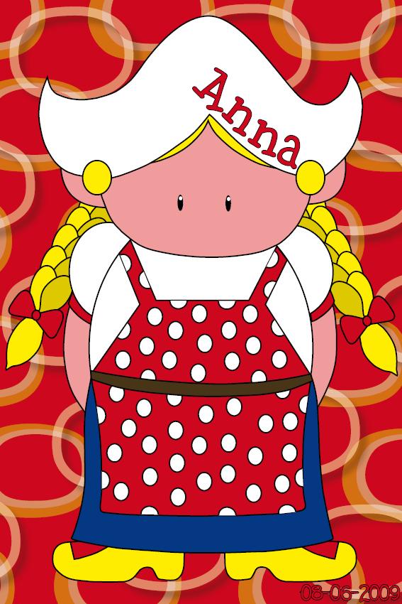 naamschilderij Boerinnetje Ineke rode ringen