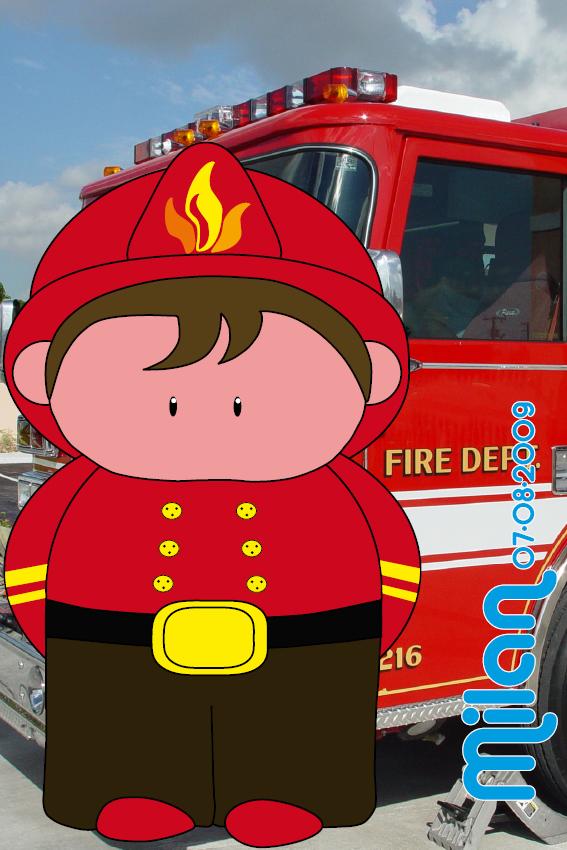 naamschilderij Brandweerman Karel foto brandweerwagen