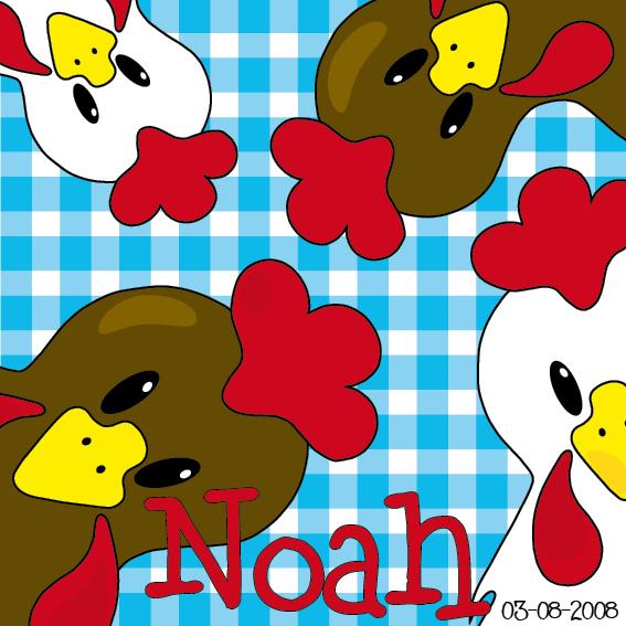 Bruine en witte kippen naamschilderij