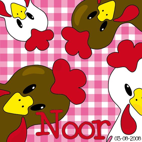 naamschilderij Bruine en witte kippen roze ruit