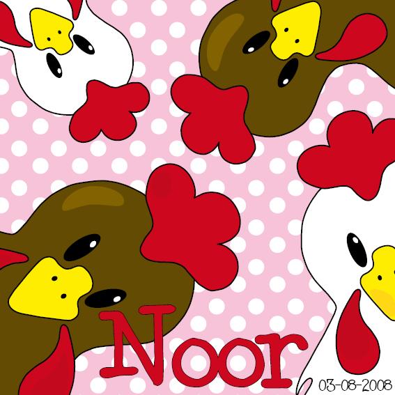 naamschilderij Bruine en witte kippen roze stippen