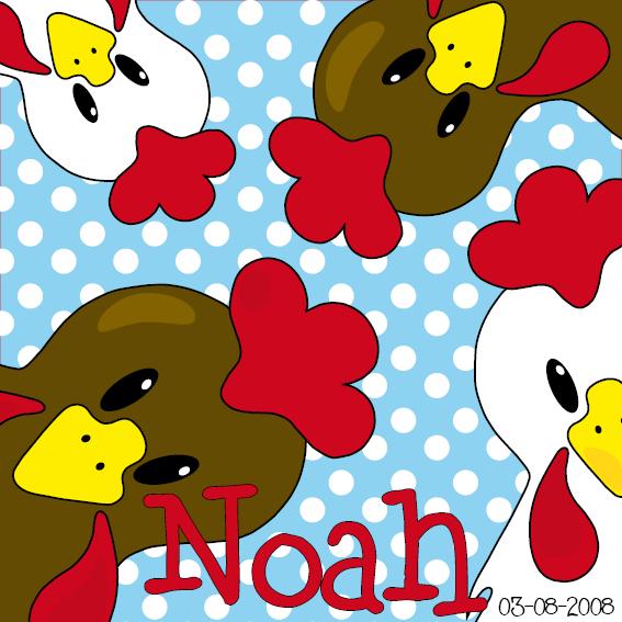 naamschilderij Bruine en witte kippen blauwe stippen
