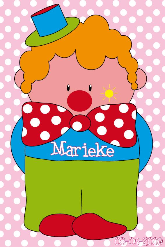 naamschilderij Clown Dirk roze stippen