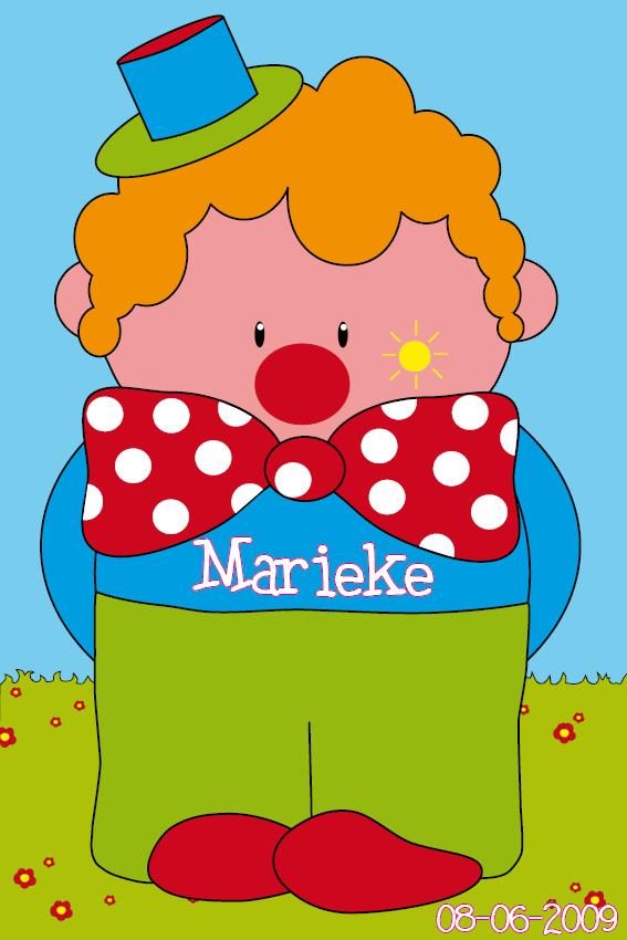 naamschilderij Clown Dirk gras en lucht