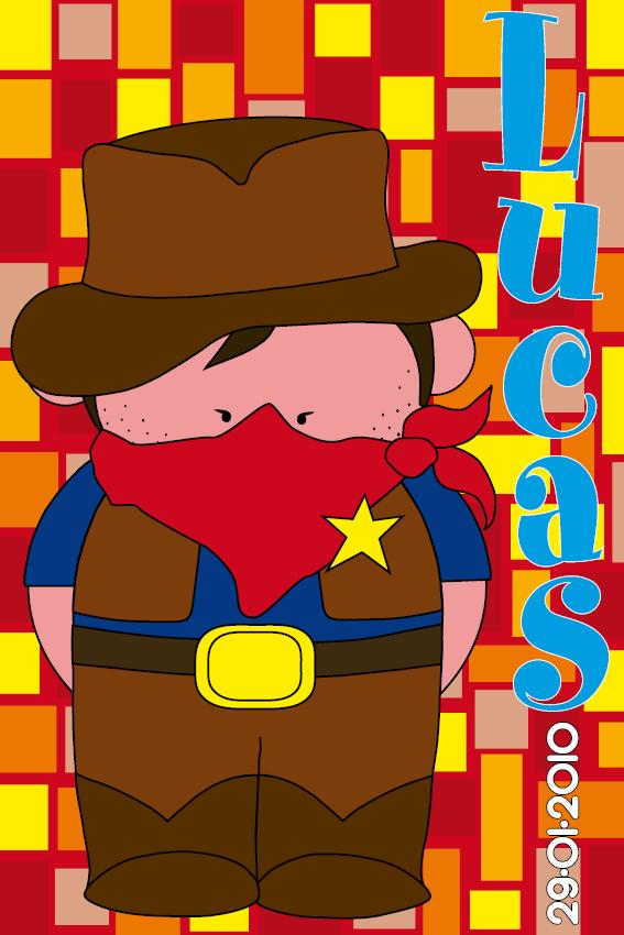 naamschilderij Cowboy Jack rode blokken