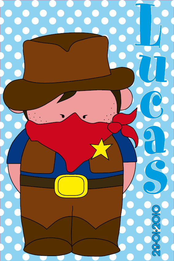 naamschilderij Cowboy Jack blauwe stippen