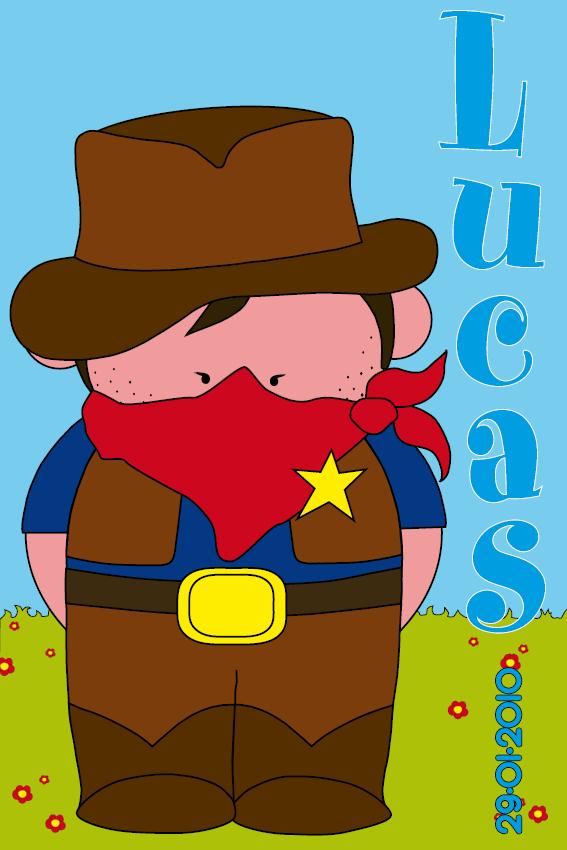 naamschilderij Cowboy Jack gras en lucht