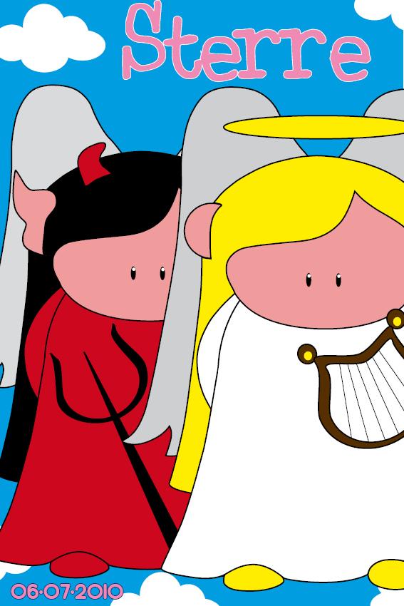 Duiveltje en Engeltje naamschilderij