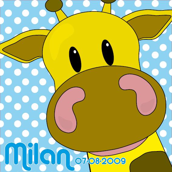 naamschilderij Giraf Menno blauwe stippen