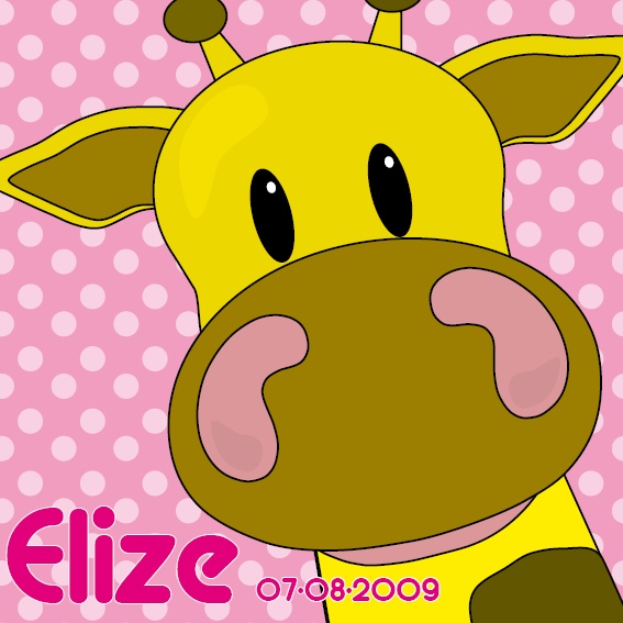 naamschilderij Giraf Menno roze stippen
