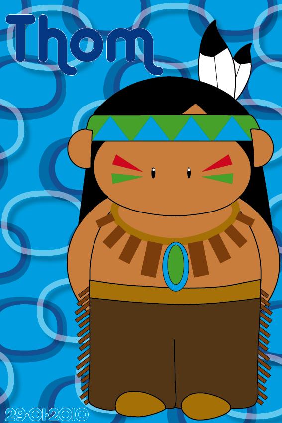 naamschilderij Indiaan Ugh blauwe ringen