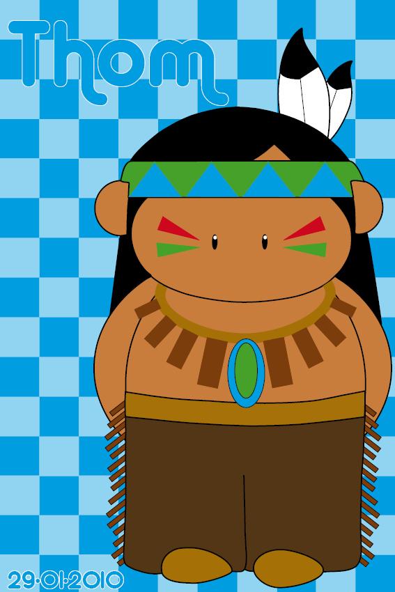 naamschilderij Indiaan Ugh blauwe blokken