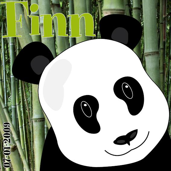 Panda Ben naamschilderij