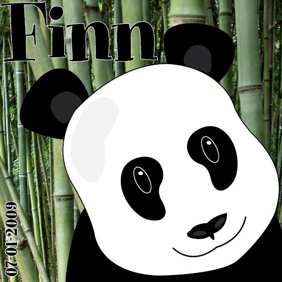 naamschilderij Panda Ben foto bamboe zwarte letters