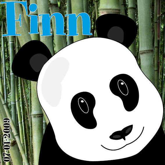 naamschilderij Panda Ben foto bamboe blauwe letters