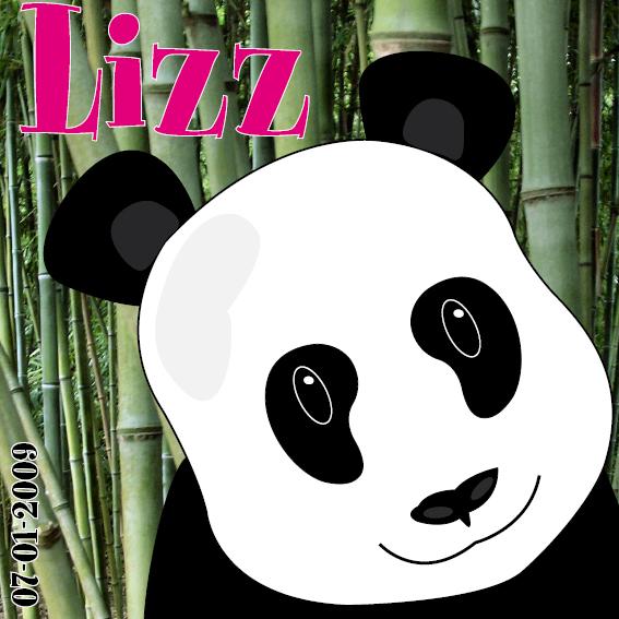 naamschilderij Panda Ben foto bamboe roze letters