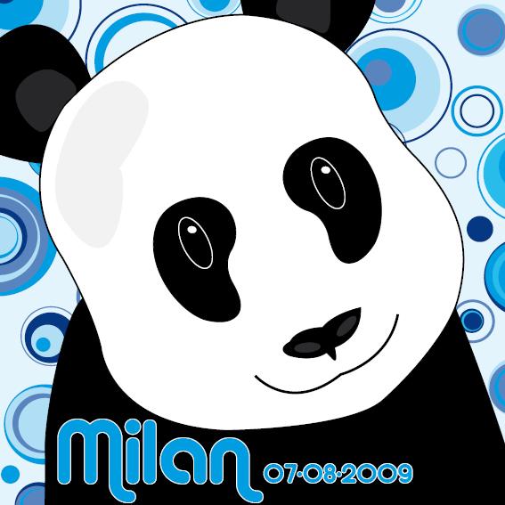 naamschilderij Panda Sam blauwe cirkels