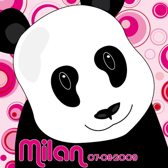 naamschilderij Panda Sam roze cirkels