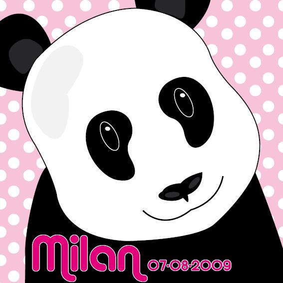 naamschilderij Panda Sam roze stippen