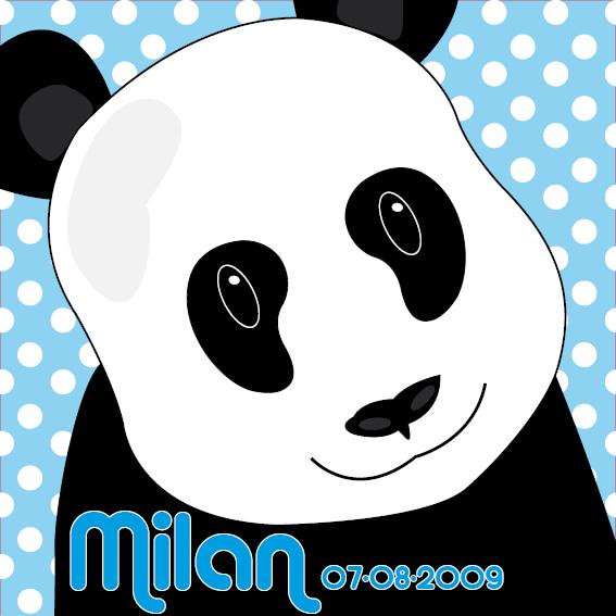 naamschilderij Panda Sam blauwe stippen