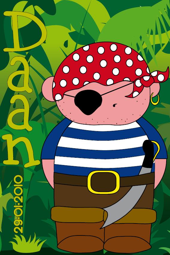 Piraatje Bas naamschilderij