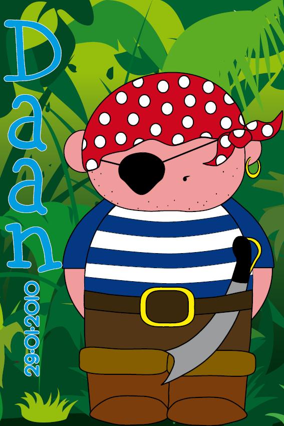 naamschilderij Piraatje Bas jungle blauw