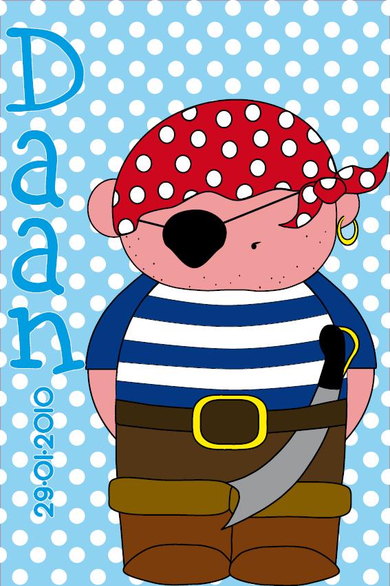 naamschilderij Piraatje Bas stippen