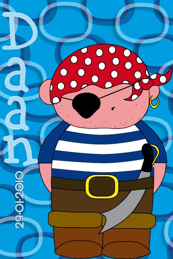 naamschilderij Piraatje Bas blauwe ringen