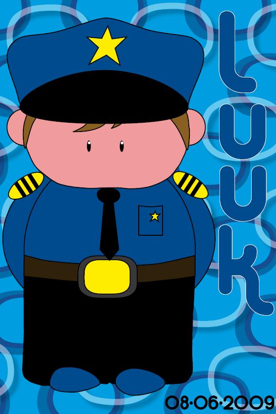 Naamschilderij Politieagent Henk blauwe ringen