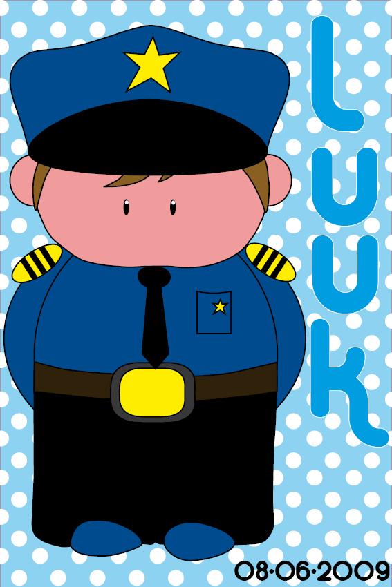 Naamschilderij Politieagent Henk blauwe stippen