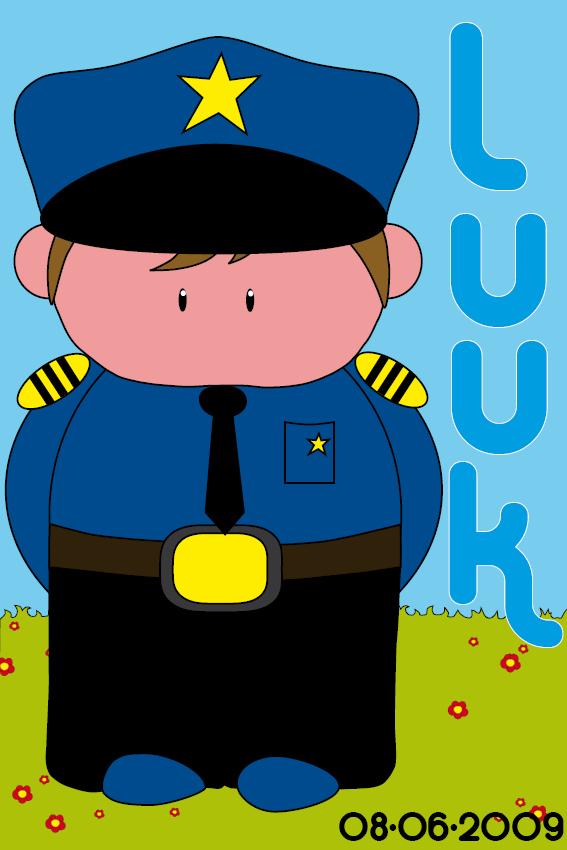 Naamschilderij Politieagent Henk gras en lucht