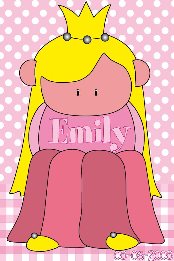 naamschilderij Prinsesje Amalia baby roze ruit