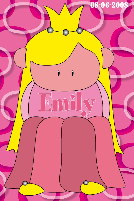 naamschilderij Prinsesje Amalia roze ringen