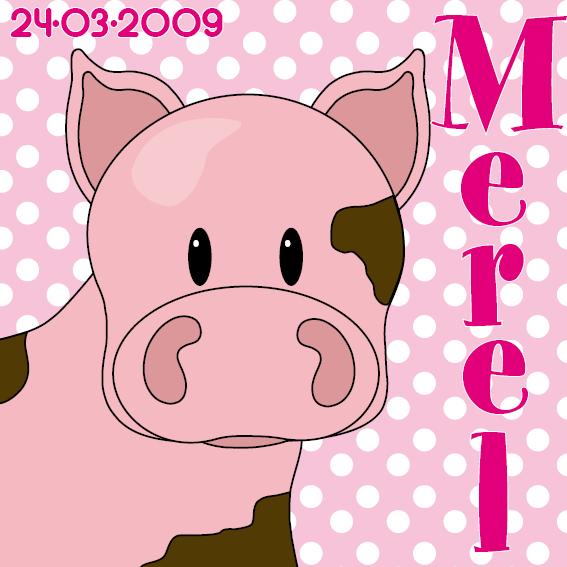 naamschilderij Varken Tim roze stippen