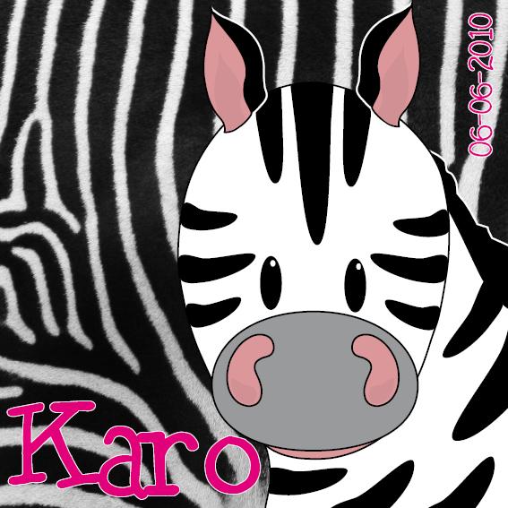 naamschilderij Zebra Karo foto vacht