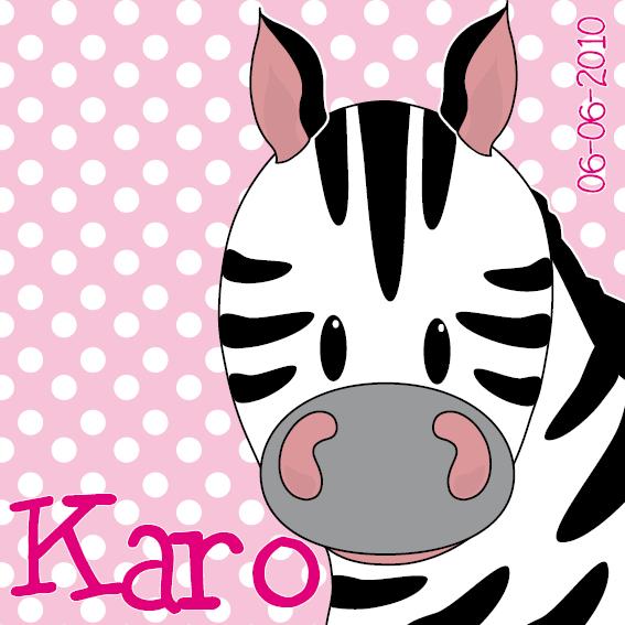 naamschilderij Zebra Karo roze stippen