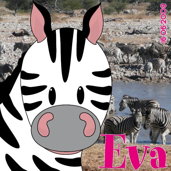 naamschilderij Zebra Mara foto zebras roze