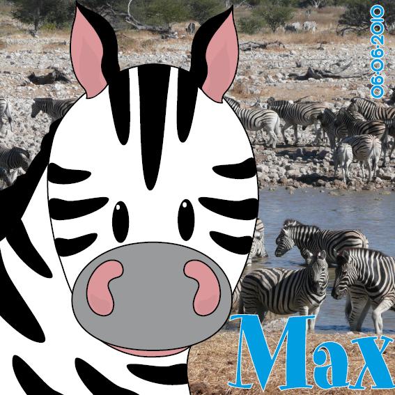 naamschilderij Zebra Mara foto zebras blauw
