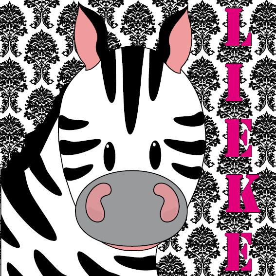 naamschilderij Zebra Mara barok roze