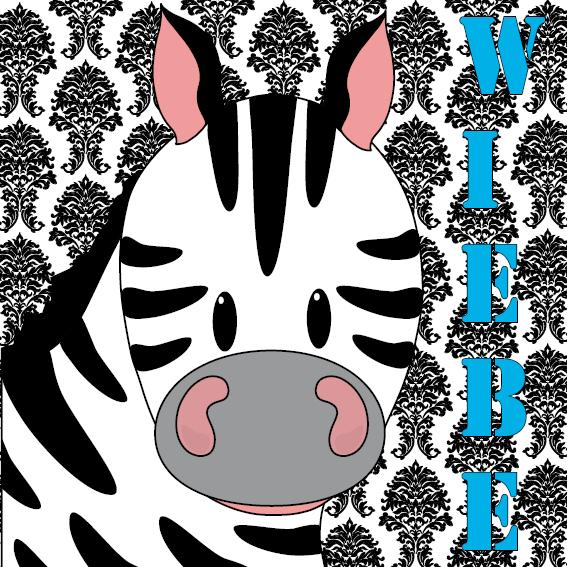 naamschilderij Zebra Mara barok blauw