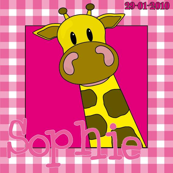 naamschilderij doorkijk Giraf Menno roze ruit