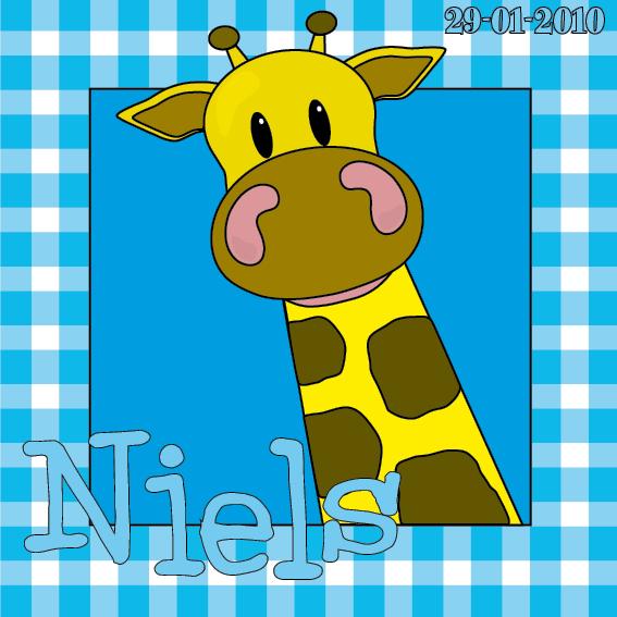 naamschilderij doorkijk Giraf Menno blauwe ruit