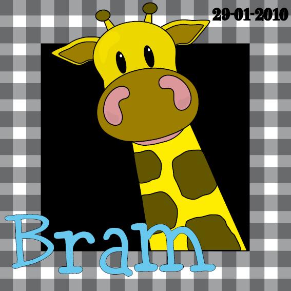 naamschilderij doorkijk Giraf Menno zwarte ruit