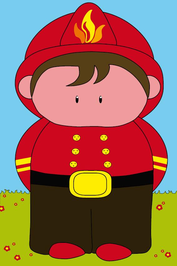 Brandweerman Karel gras en lucht